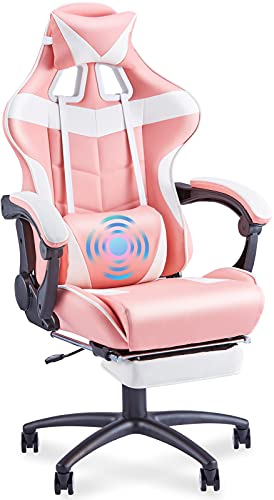 Soontrans Pink Gaming Chair for Big and Tall Person 400lbs,High Back Gamer Chair, Large Size Computer Chair, Plus Gaming Chair with Footrest, Headrest,Massage Lumbar Pillow Support (Hot-Pink)