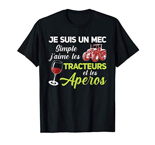 Homme Cadeau De l'Agriculteur Et Du Tracteur Tracteurs E Aperos T-Shirt