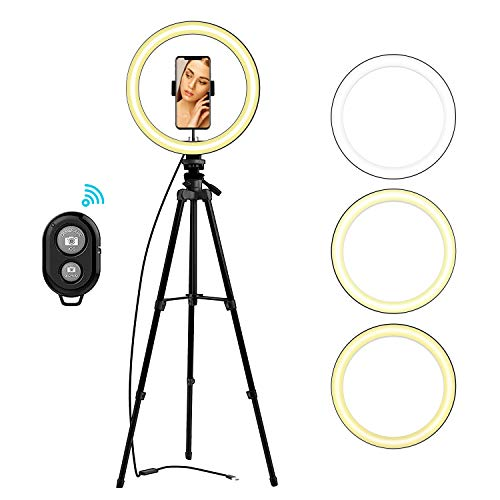 LIERONT 10' Selfie Ring Light with Tripod Stand & Phone Holder for Live...