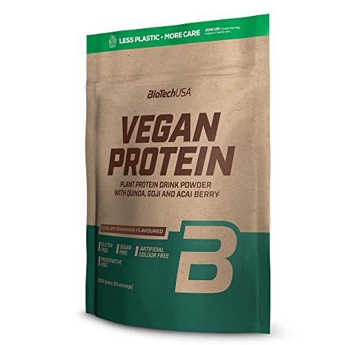 BioTechUSA Vegan Protein proteine vegetali aromatizzati in polvere delle bacche di goji e acai, farina di quinoa, 2 kg, Cioccolato-Cannella