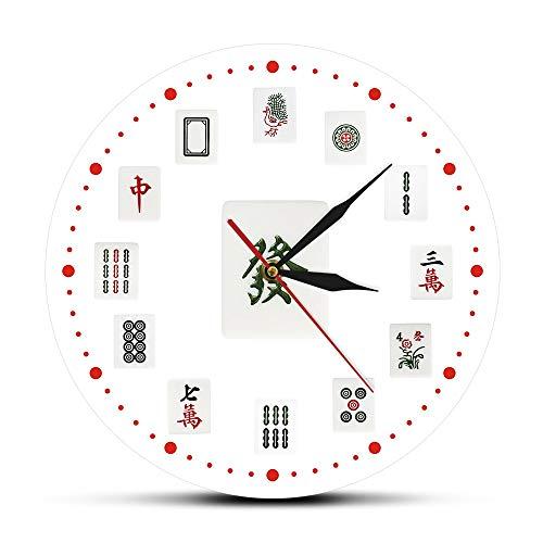 Eld 30cm Mahjong Art Reloj de Pared Decorativo Azulejos Chinos de Mahjong Reloj de Pared de acrílico Impreso Moderno Torneos Fiesta Sala de Juegos Decoración Regalo del día de la Madre Arte de Pared