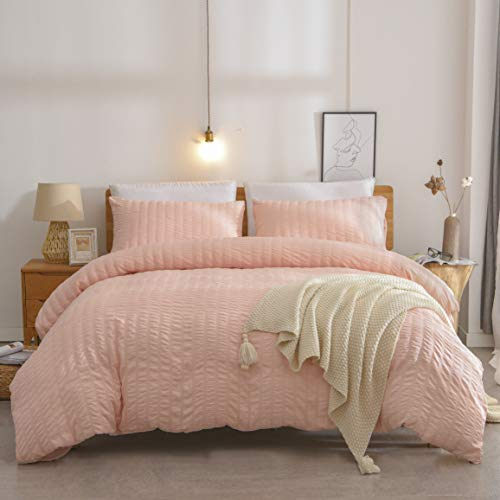 IKONICASA Blush Bed Duvet Cover Set Nature Textured Seersucker Style Easy Care Soft Lightweight Water-Washed Microfiber Bedding Set with Zipper Closure, 2 Pieces Twin