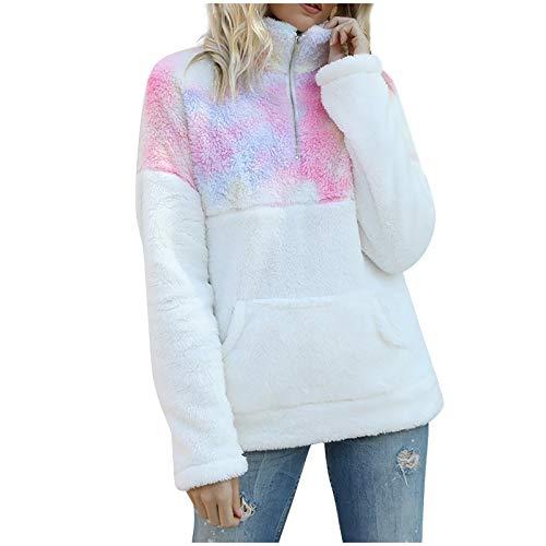 TOPSELD Women 1/4 Zip Up Stand Neck Long Sleeve Tie dye Plush Warm Sweatshirt Loose Casual Pullover Jackets Tops(Pink,M)