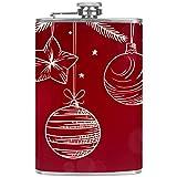 Petaca pequeña para licor y embudo de acero inoxidable, a prueba de fugas, para vino, whisky, ron y vodka, color rojo, Navidad, blanco