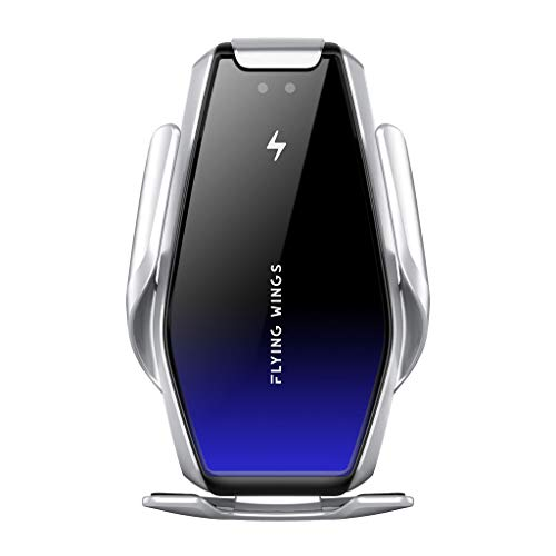 Joocyee 15W Car IR Automático Qi Cargador inalámbrico Soporte para teléfono Soporte para teléfono móvil de 4-6.5', Plata S7 Soporte de Carga inalámbrica para automóvil, Plata