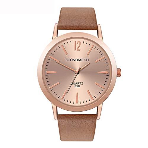 Neuer Trend Damen Minimalistisch Armbanduhr Uhr, Frauen Klassisch Römisch Ultra Dünne Analog Quarz Uhren Ultradünn Damenuhr mit Leder Armband Geschenk LEEDY