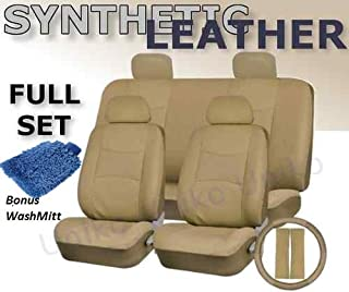 Full Set Pu LEATHER Universal Synthetic 11pc Car Seat Covers Solid TAN Color Free Bonus Steering Wheel & Shoulder Pads