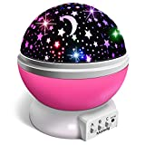 Veilleuse Enfant, Lampe Projecteur 360°Rotation Romantique,Veilleuse Bébé Étoiles, Lampes de Chevet Lampes d'ambiance(4 LED 8...