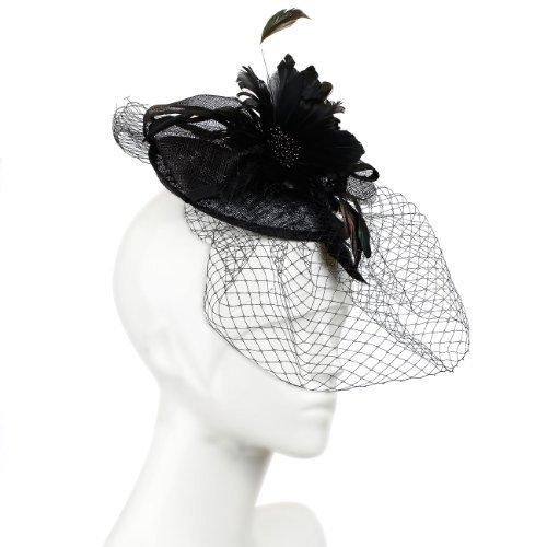 Superbe Large Bibi avec grande nœuds et plume fleur corsage Centre. Tous les plus de filet et voile ; trois Options de couleurs et de la valeur. - Noir -