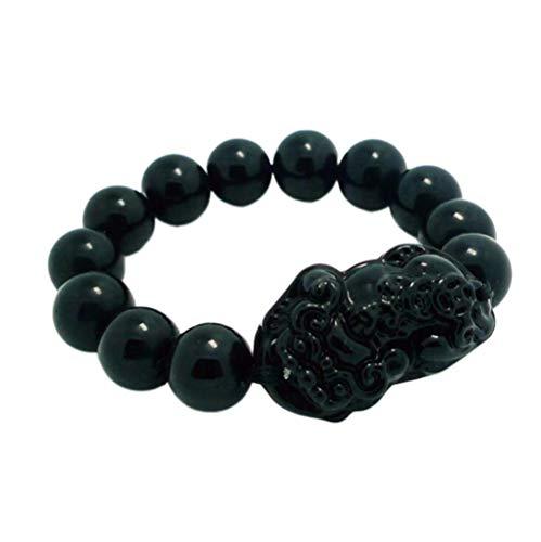 WANLIAN Feng Shui 14mm Pulsera de cuentas de mano negra con negro Pi Xiu/Pi Yao Lucky rico amuleto Brecelet pulsera negra para hombres