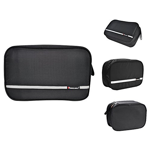 Japace® Beauty Case Sacchetto Cosmetic Borsa da Viaggio Organizzatore di Viaggio con Gancio, Grande Capacità, Portable per Attività Esterna in Viaggio D'affari 24.5 * 8 * 16cm---Nero