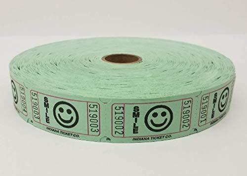 Raffle Tickets - Green Smile Single Roll - Roll of 2000 Smile Raffle Tickets (Green)