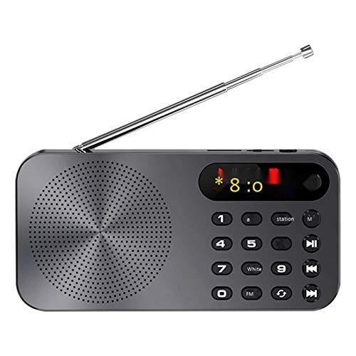 Lsmaa Radio FM, multifuncional recargable Walkman con tarjeta de hogar LED pantalla digital linterna función de iluminación, cómodo de usar en interiores y exteriores