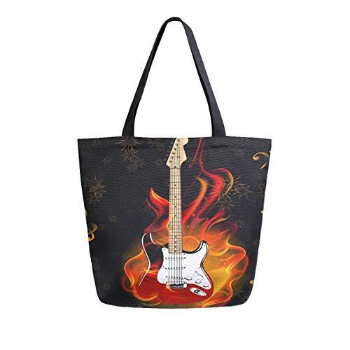 Irud Canvas Tote Bag Musiknote Brennen Gitarre Feuerwerk Casual Schultertasche Groß für Frauen Handtasche Lebensmitteltasche Baumwolle Tasche Einkaufstasche Wiederverwendbare Handtasche für Outdoor