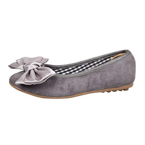 Beonzale Damen Outdoor-Modetrend Runde Zehen Soft Bottom Pumps Bogen Arbeitsschuhe Schnalle Riemen Freizeitschuhe Schuhe