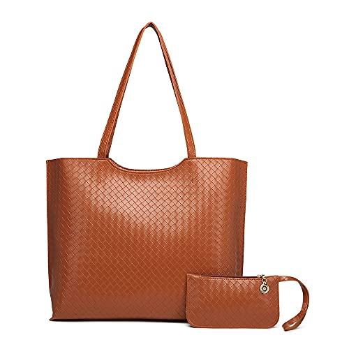 Bolsos de Mujer Bolso Bandolera Mujer Bolso de Hombro Bolso PU Cuero Bolso Shopper Totes para Escuela Compras Viaje Oficina 2pcs Set (Marrón)