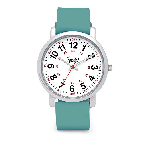 Speidel Scrub Watch for Medical Professionals with Teal Silicone Rubber Band - Easy to Read Timepiece with Red Second Hand, Military Time for Nurses, Doctors, Surgeons, EMT Workers, Students and More