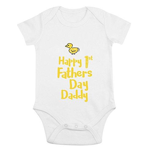 Jollytots - Body de bebé para el primer día del padre (algodón orgánico) Amarillo Pato 6 mes