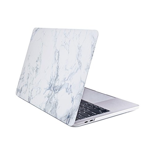 Se7enline 2016 2017 2018 Macbook Pro Case White Marble Pattern Frosted Plastic Hard Case Cover for NEWEST Macbook Pro 15 inch with Touch Bar and Touch ID Model A1707/A1990