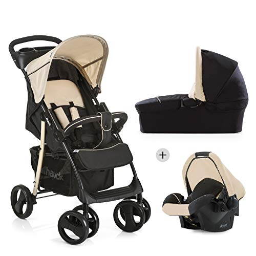 Hauck Shopper SLX Trio Set 3 in 1 Kinderwagen bis 25 kg + Babyschale + Babywanne mit Matratze ab Geburt, Buggy mit Liegefunktion, Getränkehalter, leicht, klein faltbar, caviar/beige