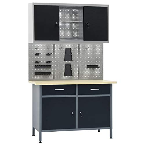 Unfade Memory Adjustable Workbench Table with 2 Drawers and 2 Doors, Heavy-Duty Steel Workstation with 3 Wall Panels and 1 Cabinet