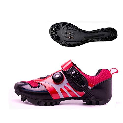 KUXUAN Zapatos De Ciclismo De Carretera para Hombres,MTB Zapatos De Ciclismo De Montaña Adultos Unisex,Red-36EU