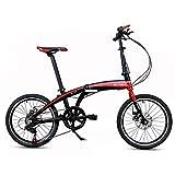 Oanzryybz Haute qualité Portable de vélo Pliant Ultra léger en Alliage d'aluminium de 20 Pouces Enfants Femmes (Color : Red, Size : 20 inches)