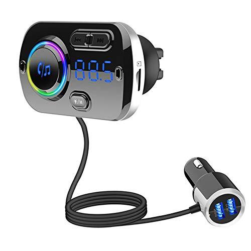 MHCYKJ La Riproduzione FM Transmitter Bluetooth 5.0 Carkit Vivavoce AUX Audio Supporto del Giocatore Lettore A2DP Bluetooth per Auto MP3 TF Card
