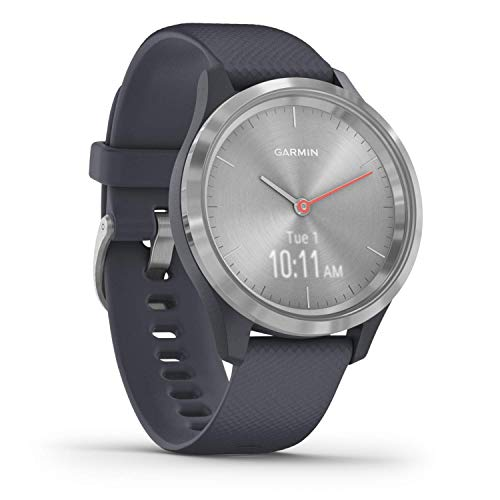 Garmin vivomove 3s, Smaller-sized Hybrid Smartwatch with Real Watch Hands and Hidden Touchscreen Display, Silver with Granite Blue Case and Band