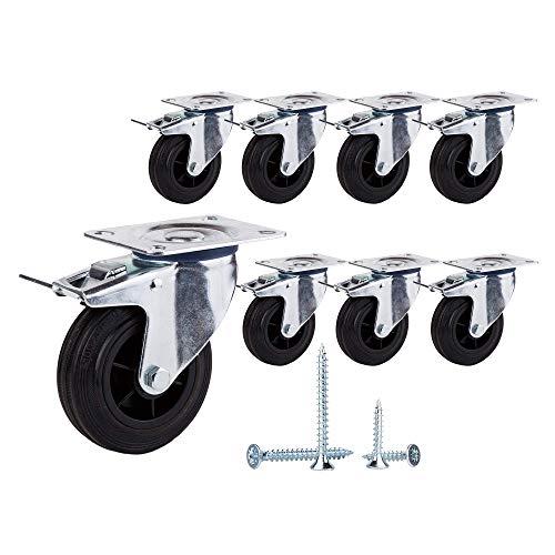 (Paquete de 8 piezas) Ruedas giratorias de goma de movimiento suave de 100 mm Ruedas con placas de metal Ruedas Carro industrial (8, con frenos)