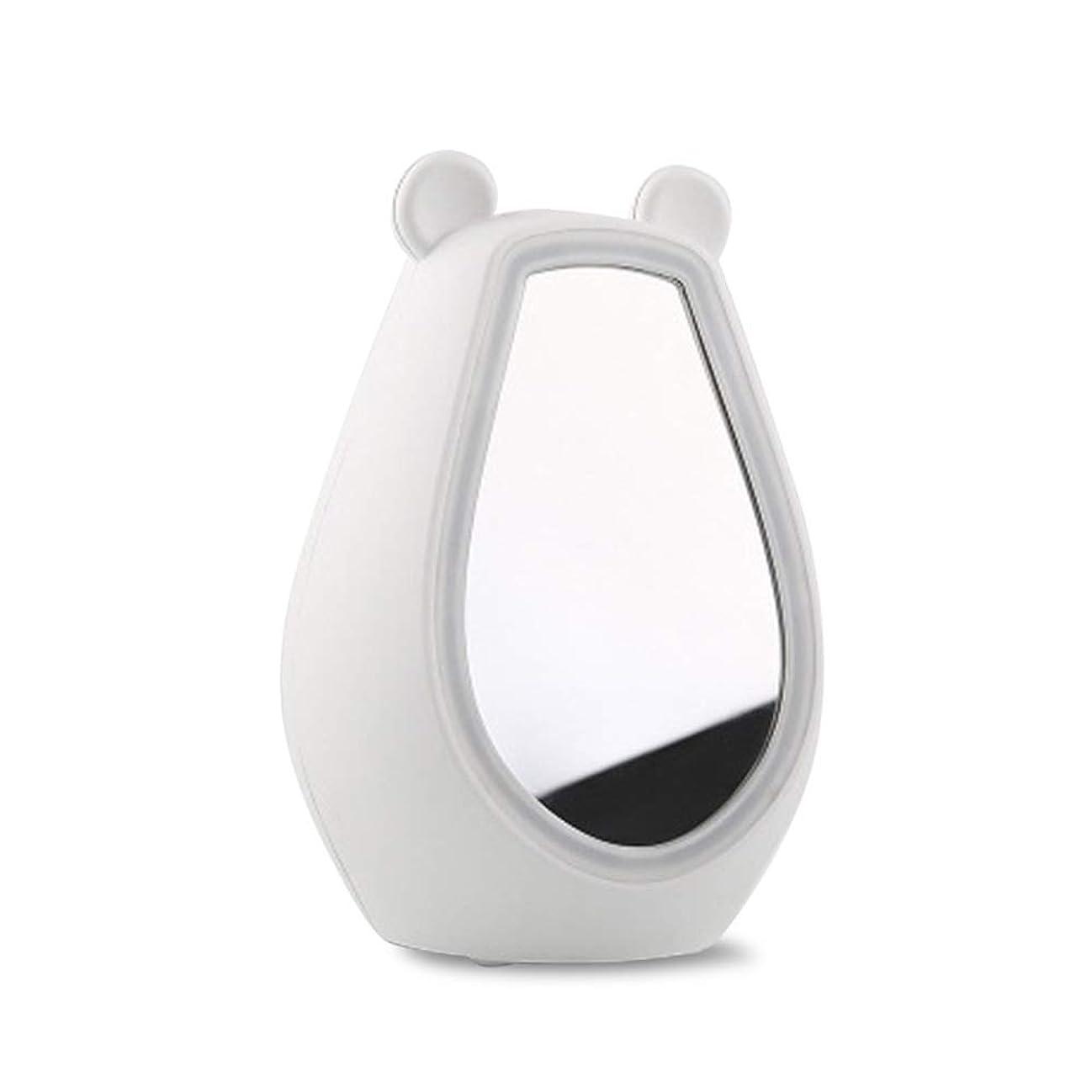 とても多くの子羊有用ライトタッチスイッチ付きスクエアデスクトップミラー化粧鏡付きクリエイティブLed化粧鏡ライト美容ミラー (Color : White)