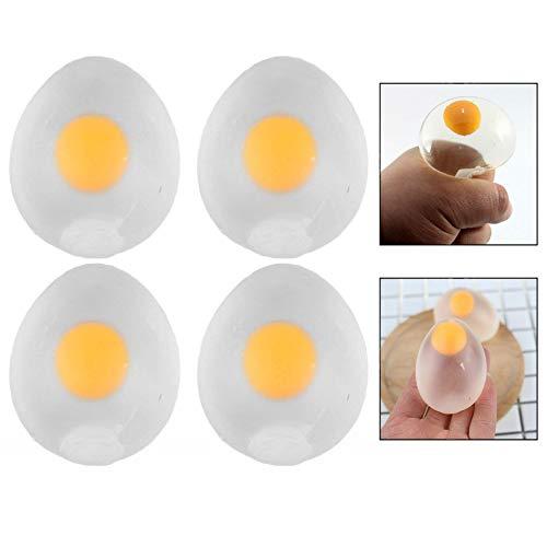 Xrten 4 pcs Uova di Rilievo di Sforzo,Divertente Egg Splat Ball Creativo Spremere L'uovo d'acqua Giocattolo per Bambini Adulti