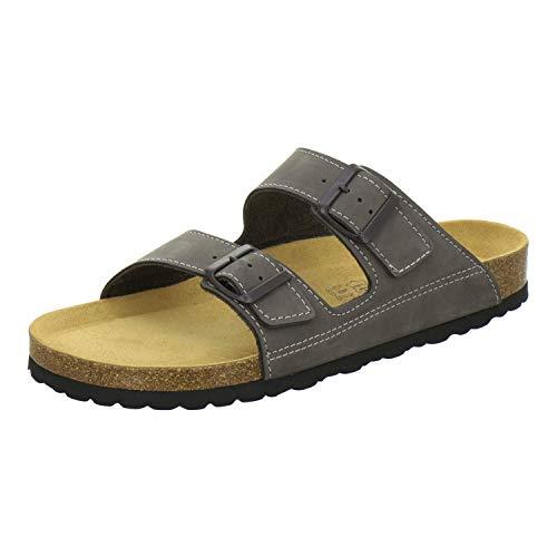 AFS-Schuhe 3110 sportliche Herren Pantoletten Leder, Bequeme Hausschuhe Korkfussbett, Made in Germany (41 EU, Stone)
