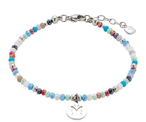 CIAO BY LEONARDO Damen-Armband Estate, Edelstahl mit mehrfarbigen Glas-Perlchen und Mini-Charms, mit Karabinerverschluss, Länge 175 mm, 016917