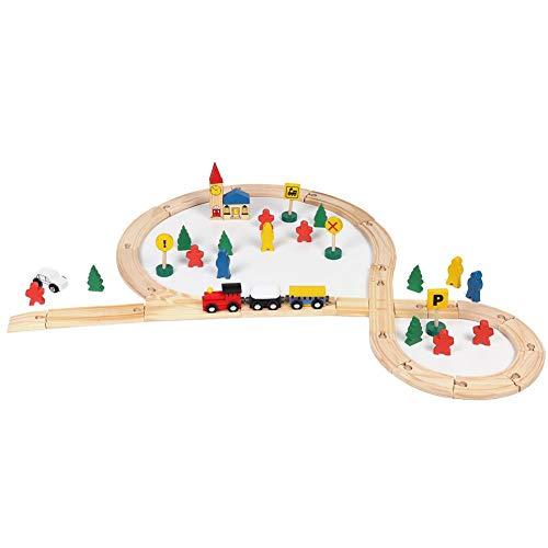 JULYKAI Madera determinada del Juguete del Tren de DIY, Sistema de Madera del Tren, para la educación temprana del niño de los niños