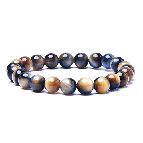 8mm Natural Tiger Eye Stone Stretch Bracelets, Yoga Energy Healing Stone Wrist Bracelet for Women (Color mixing)