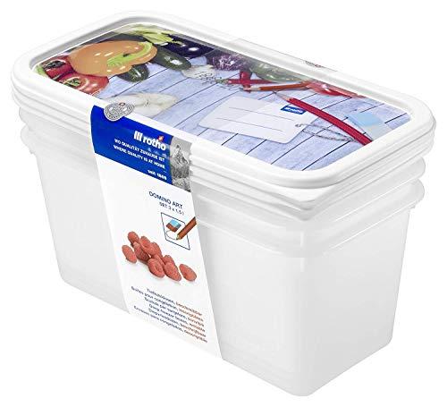 Rotho Domino 3er-Set Gefrierdosen 1.5l mit beschreibbarem Motiv auf dem Deckel, Kunststoff (PP) BPA-frei, weiss, 3 x 1,5l (23,3 x 11,8 x 11,2 cm)