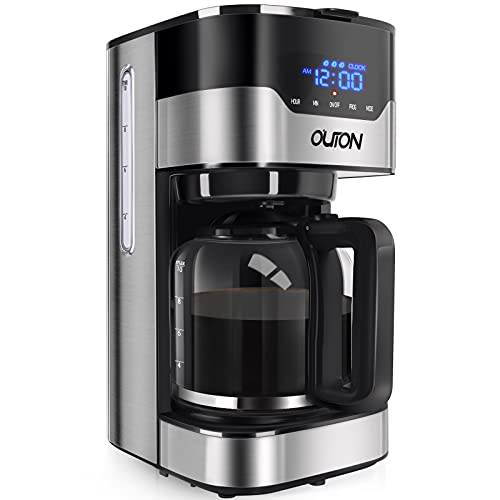 Outon Coffee Maker 10 Cup, Programmable Drip Coffee Maker, Multiple Brew Strength, Auto Shut Off, Keep Warm, Compact Coffee Machine with Glass Carafe & Reusable Coffee Filter, Black Stainless