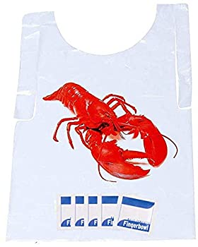 Lobster Bib and Wet Wipe Bundle - 25 Disposable Bibs and Moist Towelettes for Crawfish Boil Seafood Fest or Home Dinner Party by AMSCO Disposables