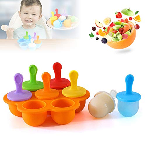 Silicone Popsicle Molds, Food Grade DIY Ice Pop Molds,Colorful Ice Cream Mold Ice Lolly, 7-Hole Popsicle Mold for Kids Food Freezer Trays Ice Pop Maker with Silicone Spoon and Cleaning Brush orange