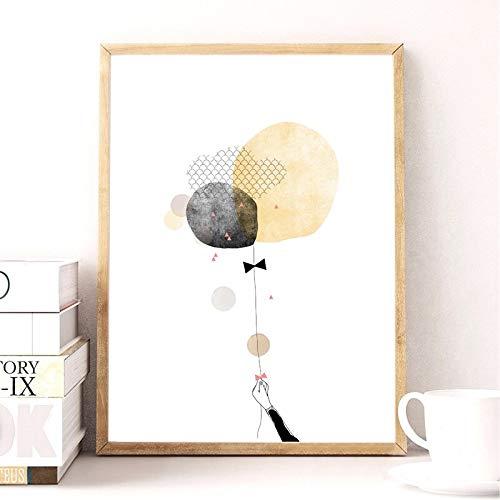 Geiqianjiumai Nordic stijl ballerina aquarel meisje canvas kunst prints en posters cartoon meisje illustratie canvas kunst wanddecoratie frameless schilderij
