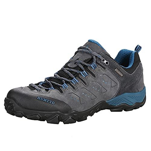 huasa Zapatillas Impermeables de Senderismo Trekking Hombre,Botas de Montaña Antideslizantes Al Aire Libre Zapatos de Deporte cálidas y con Parte Superior de Piel,36-Grey