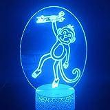 Mono Lámpara De Ilusión Óptica 3D, Luz Nocturna Para Niños, 7 Colores Que Cambian La Luz Nocturna Acrílica Led Para Niños Y Niñas Como Los Cumpleaños