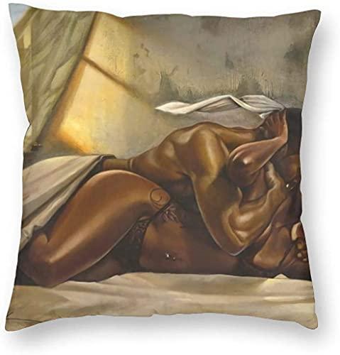 HESMENO Fundas de almohada de terciopelo negro con diseño de amor afroamericano y reina, pintura al óleo para parejas, fundas de almohada decorativas con cremallera de 45,7 x 45,7 cm