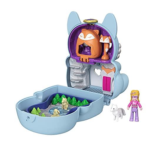 Polly Pocket -Cofanetto Flip Volpe Artica con Micro Bambola Polly, Volpe e Scomparti a Sorpresa, Giocattolo per Bambini 4+ Anni, GTM57