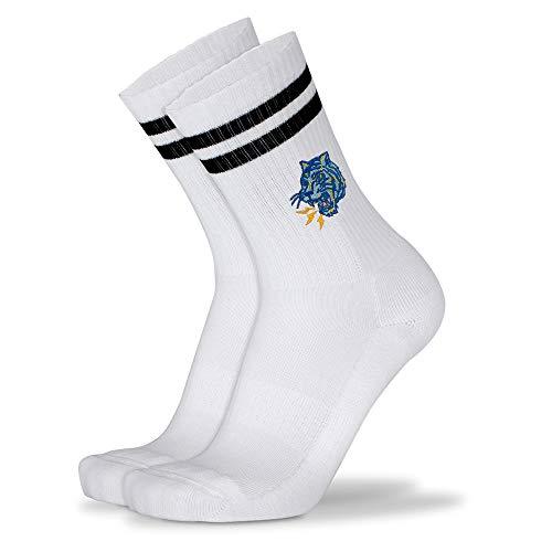 Mofreso Herren & Damen Retro Socken weiss mit Streifen und edler Stickerei - Catch a Tiger - Baumwolle, fair produziert - Atmungsaktiv, angenehmes Tragegefühl - 1 Paar - 39-42