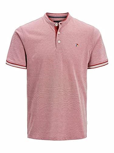Jack & Jones JPRBLUWIN Mao Polo SS Camisa, Rojo ladrillo/Fit: reg/Whisper White, XL para Hombre