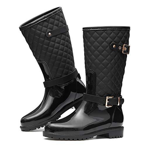 Camfosy Damen Gummistiefel Wasserdicht, Regenstiefel Wasserdicht Langschaft mit Schnalle Flach Casual Wellington Boots Mode Schlupfstiefel Rain Boots Outdoor Gartenschuhe Schwarz
