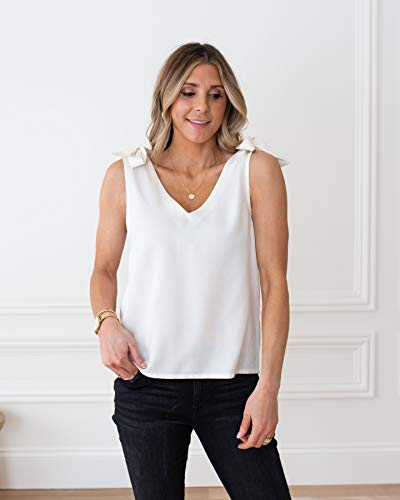 The Drop Camiseta para Mujer, con Escote en Pico y Tirantes Anudados a los Hombros, Blanco Whisper, por @cellajaneblog