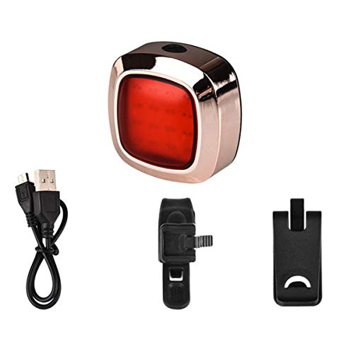 USB Rechargeable LED Bike Tail Light, IPX6 Waterproof Super Bright Brake Sensing Bicycle Rear Lights, 5 Light Mode Options (Rose Gold, One Size)